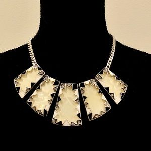 WHBM ivory silver & black block statement necklace